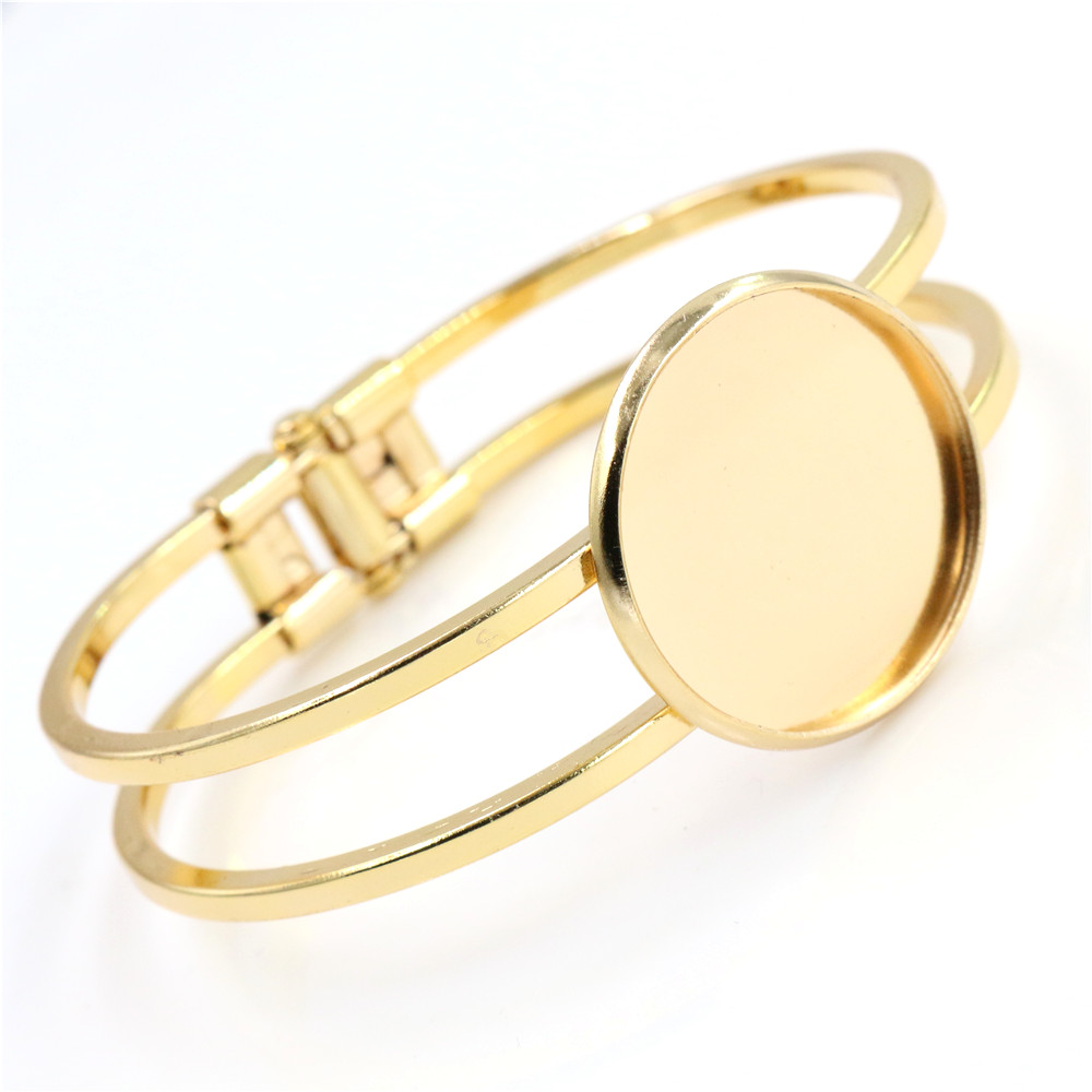 High Quality  25mm Gold Color Plated Bangle Base Bracelet Blank Findings Tray Bezel Setting Cabochon Cameo L1-15