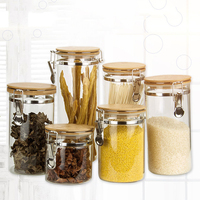 Stainless Steel Airtight Storage Jar with Clip Top Bamboo Lids Sealed Canister Food Storage Container for Kitchen Organizer|Bottles Jars & Boxes|Home & Garden -