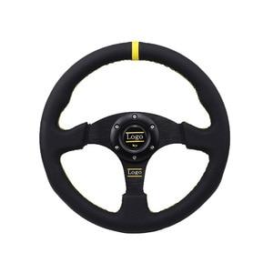 Image 2 - Uniwersalny 14 cal 350mm Racing kierownica samosterujące koło do samochodu sportowe skórzane kierownica z Logo