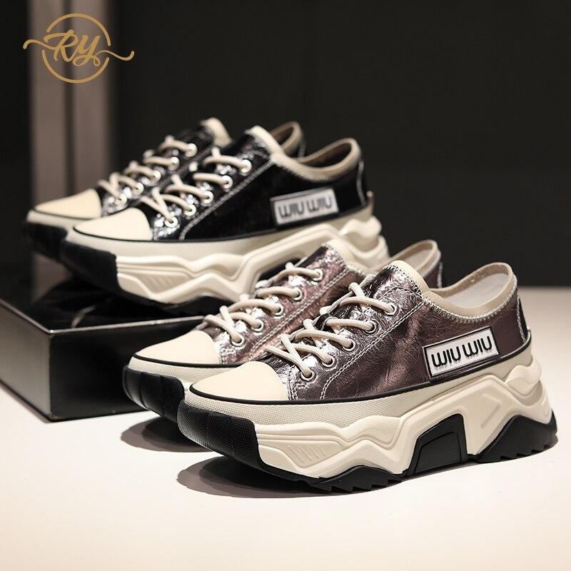 RY-RELAA zapatillas de mujer zapatos de moda 2018 zapatillas de cuña de cuero genuino INS estilo plataforma gruesas Mujer Zapatos Zapatillas de Casuales SANDALIAS ARMONIAS PLATAFORMA