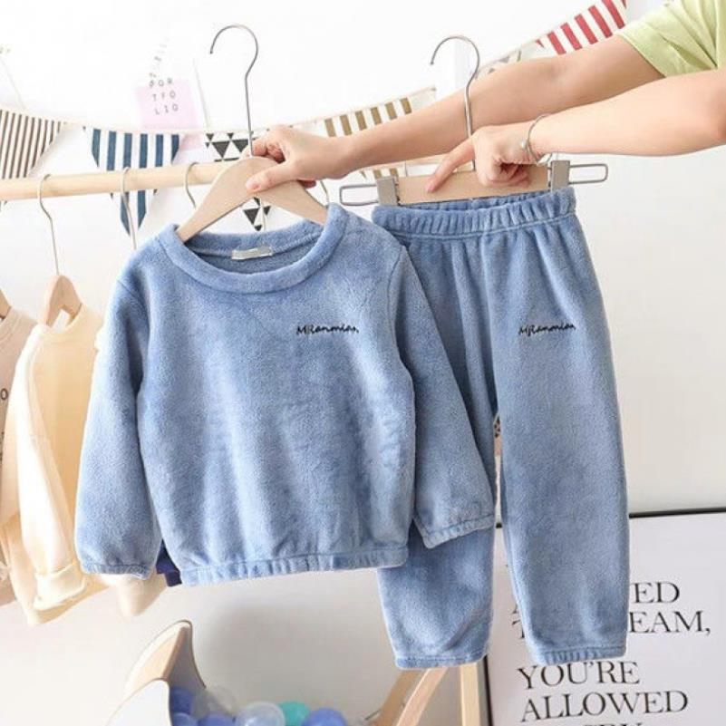 New Winter Children Fleece Pajamas Thicken Warm Flannel Sleepwear Girls Loungewear Coral Fleece Kids Pyjamas Boy Homewear Suit 5
