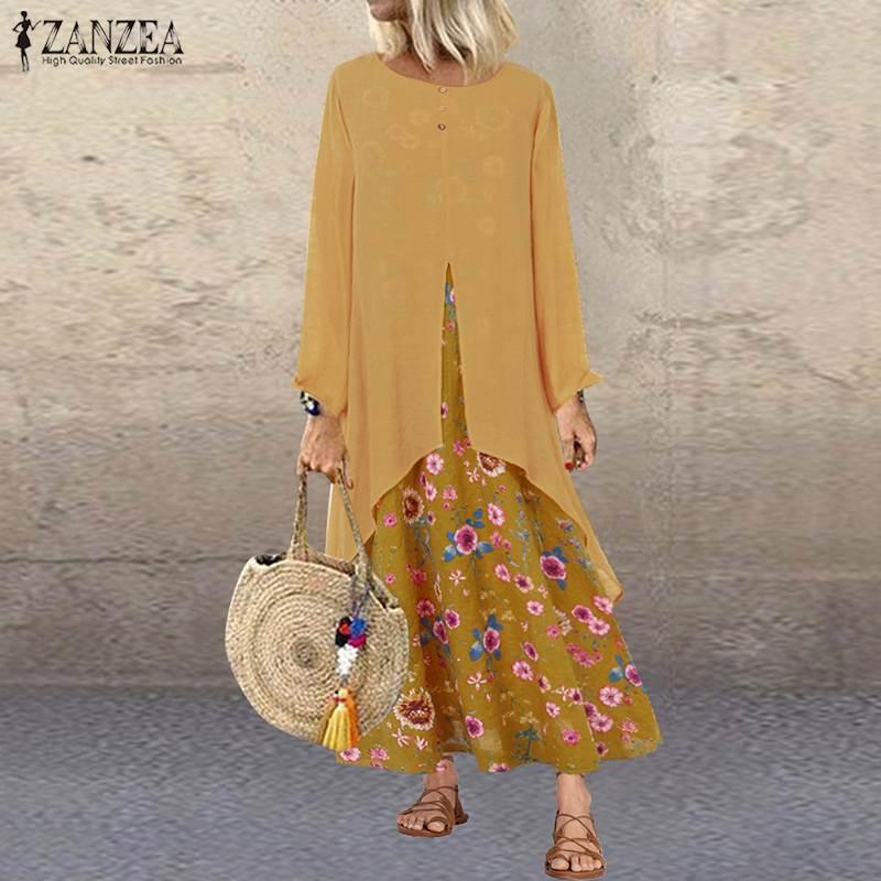 2020 Plus Size ZANZEA Spring Dress Women Long Sleeve Vintage Floral Printed Pacthwork Long Sundress Vestidos Robe Femme Tunic