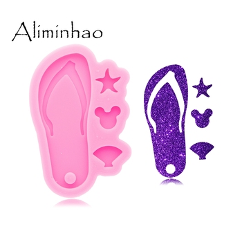DY0590 Shiny Glossy Flip Flop Making Keychain - Polymer Clay Mould - Mold Resin Craft Necklace - Epoxy Jewellery Silicone Mold