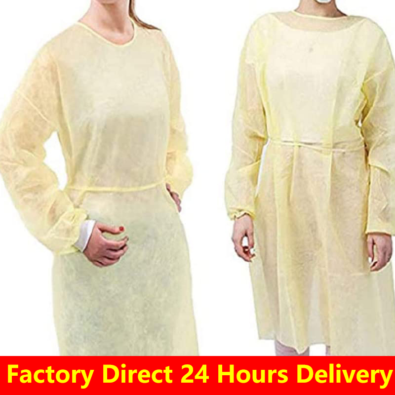 40pcs Factory Direct Disposable Isolation Gown PP Disposable Non Woven Surgical Gown Isolation Universal Protective Gown Yellow