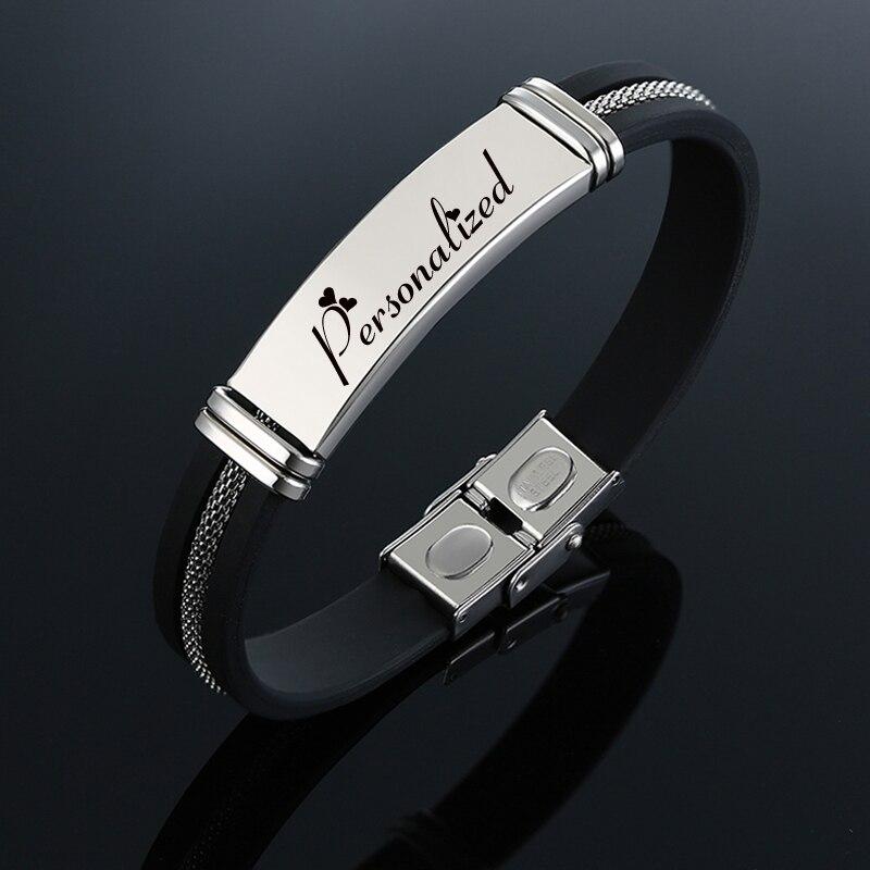 Personnalisé personnalisé acier inoxydable ID Bracelet hommes sécurité Silicone caoutchouc marque mâle Bracelet élégant 19.5cm 21.5cm 22.5cm