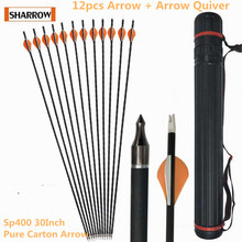 12pcs Archery Spine 400 Shooting Arrows Pure Carbon Iron Bolts Suitable For Composite Bow Longbow Hunting Accessories