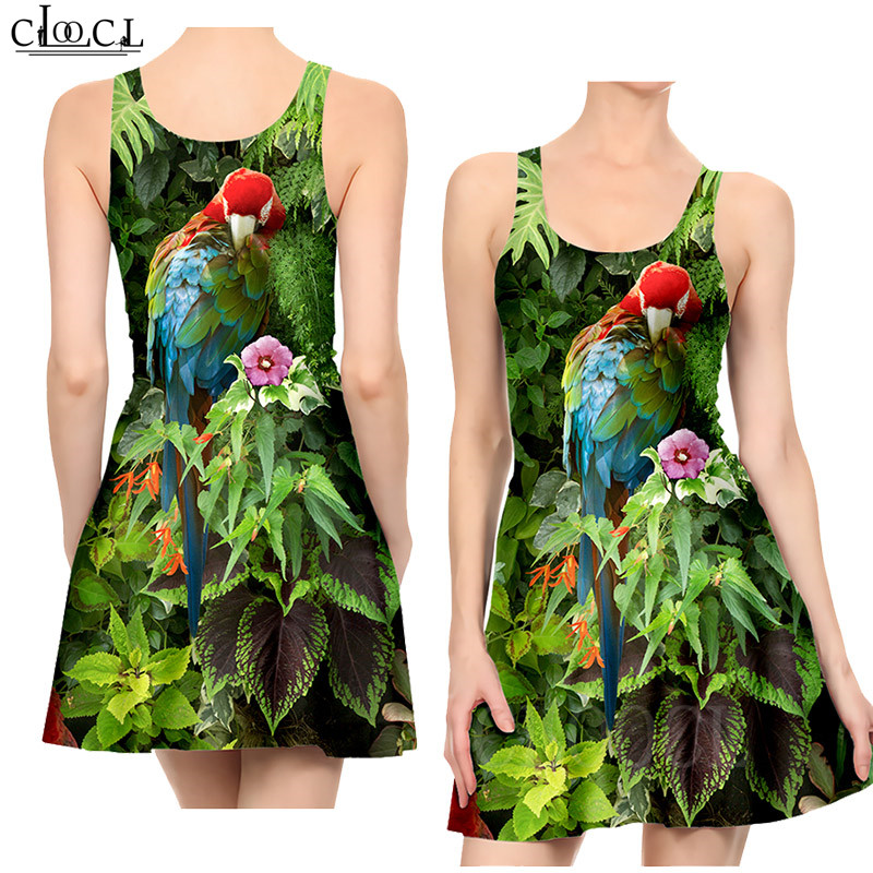 Ladies Dress Fashion Elegant Parrot Printed Colorful Dresses Sexy Women's Girls Short Slim Dress Beach Summer Vestidos De Verano