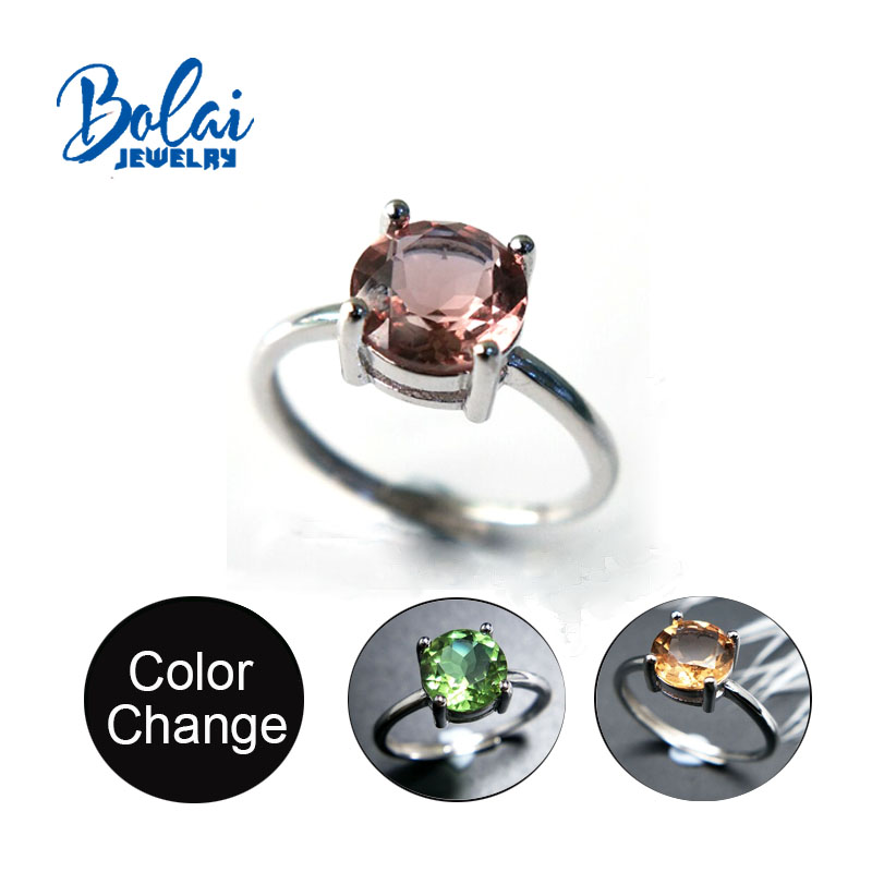 Bolaijewelry,Zultanite Ring Diaspore Round 8.0mm 925 Sterling Sliver Created Color Change Gemstone Elegant Design Fine Jewelry
