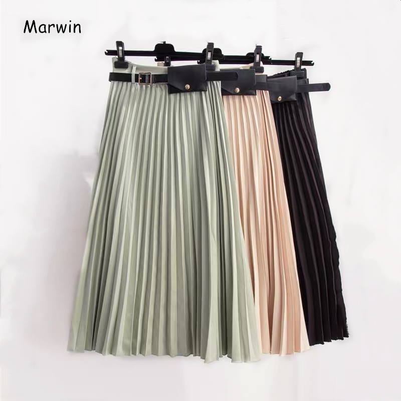Marwin 2019 New-Coming Winter Solid Sashes A-Line Women Skirts High Street Style Mid-Calf Fashion Pleated Skirt