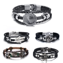 """diesel for successful liying"" Punk Men's Leather Bracelet Multilayer Leather Alloy Beads Bracelet for Women Nautical Jewelry(China)"