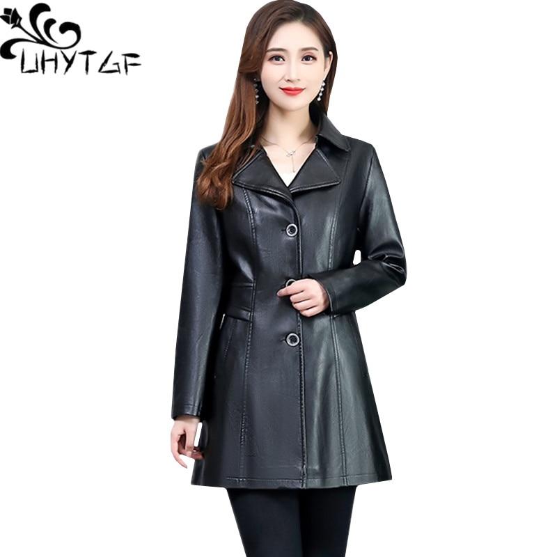 UHYTGF Luxury PU spring autumn   leather   jacket women6XL plus size   leather   jacket femme quality washed   leather   slim women coat 830