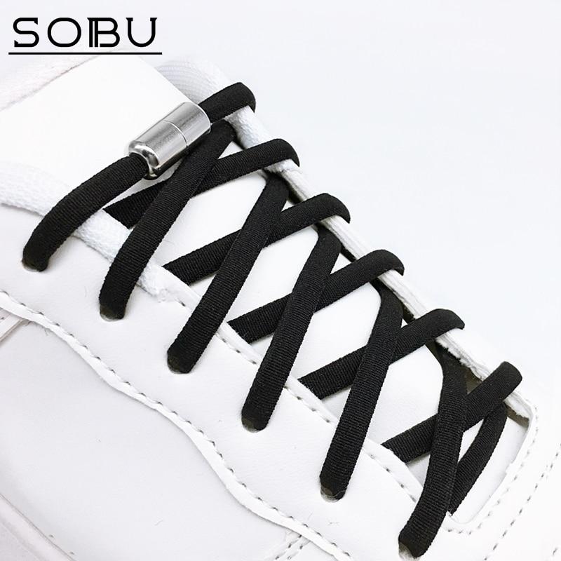 Elastic No Tie Shoelaces Metal Lock Shoe Laces For Kids Adult Sneakers Quick Shoelaces Semicircle Shoelaces Lazy Laces N4001
