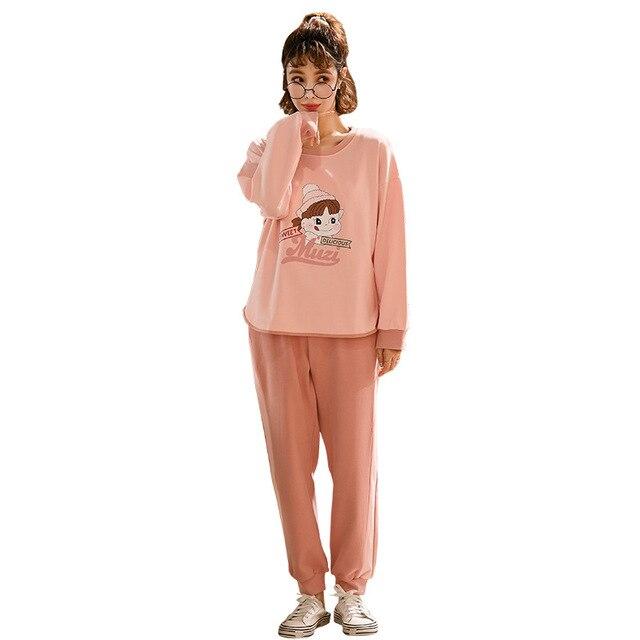 Купить пижамы для девушек весна/осень хлопковые размера плюс сна пижамный