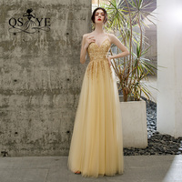 QSYYE 2019 Long Prom Dresses tulle v neck spaghetti strap backless Beading Floor Length Formal Evening Dress Party Gown