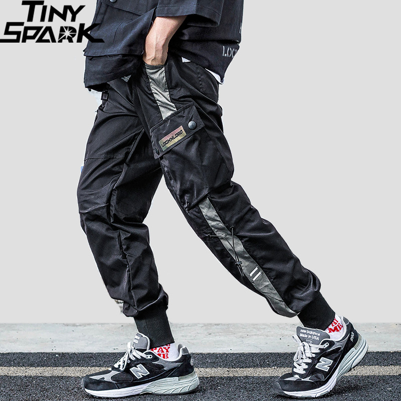 Mens Hip Hip Joggers Pants Streetwear 2019 Harajuku Cargo Pants Pockets Casual Track Pants Side Striped Tactical Harem Trousers
