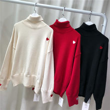 Rouwanbaby New Style 2018 Autumn And Winter High Collar Heart Sweater(China)