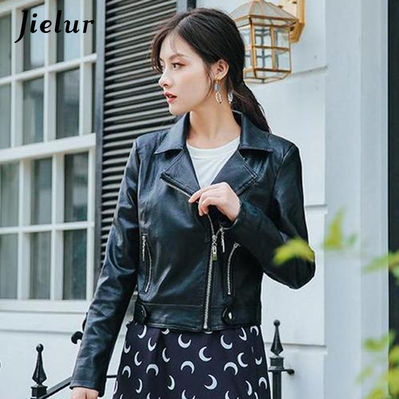 Jielur   Leather   Jacket Women 2019 New Black Biker Jacket Solid Color Coat Female Long Sleeve   Leather   Jackets Basic Coat M-XL