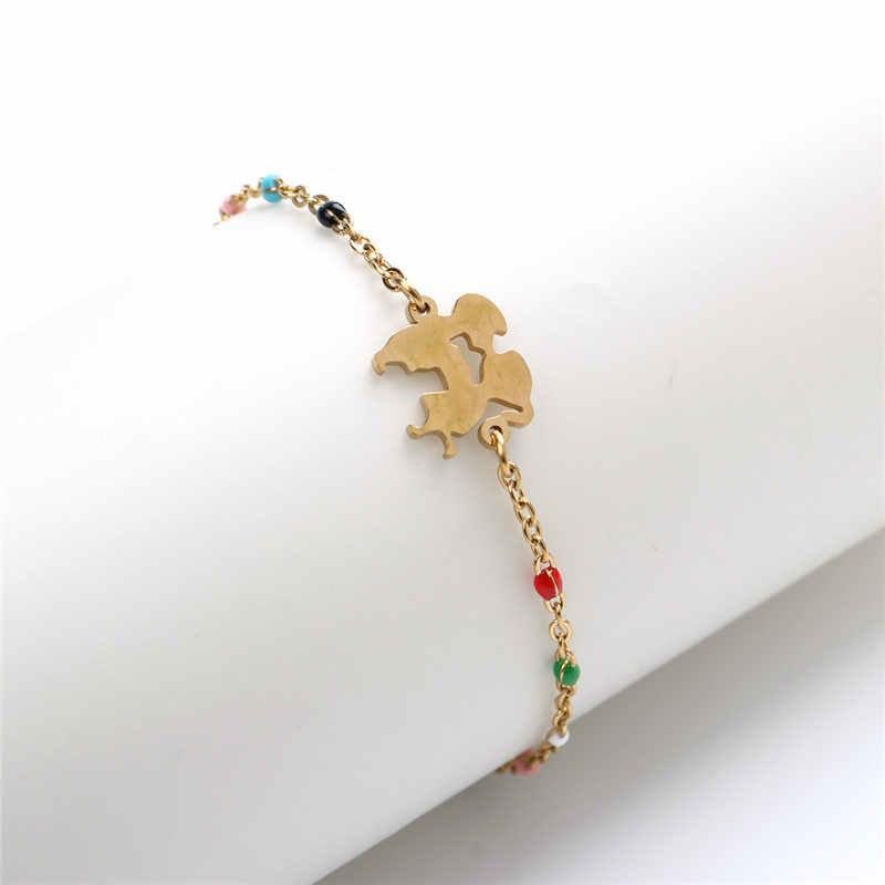 1 PCสแตนเลสสตีลสร้อยข้อมือLink Chain Tree Moon Goldสีสุ่มเคลือบสร้อยข้อมือเครื่องประดับสำหรับผู้หญิง18ซม.