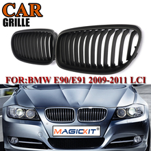 MagicKit New Pair Black Car Matte Front Grille Grills for BMW E90 LCT 3-Serise Sedan 2009 2010 2011 Car Styling Racing Grills citycarauto top quality shiny matte black front racing grill grille car styling front cover grills fit for sportage 2011 15