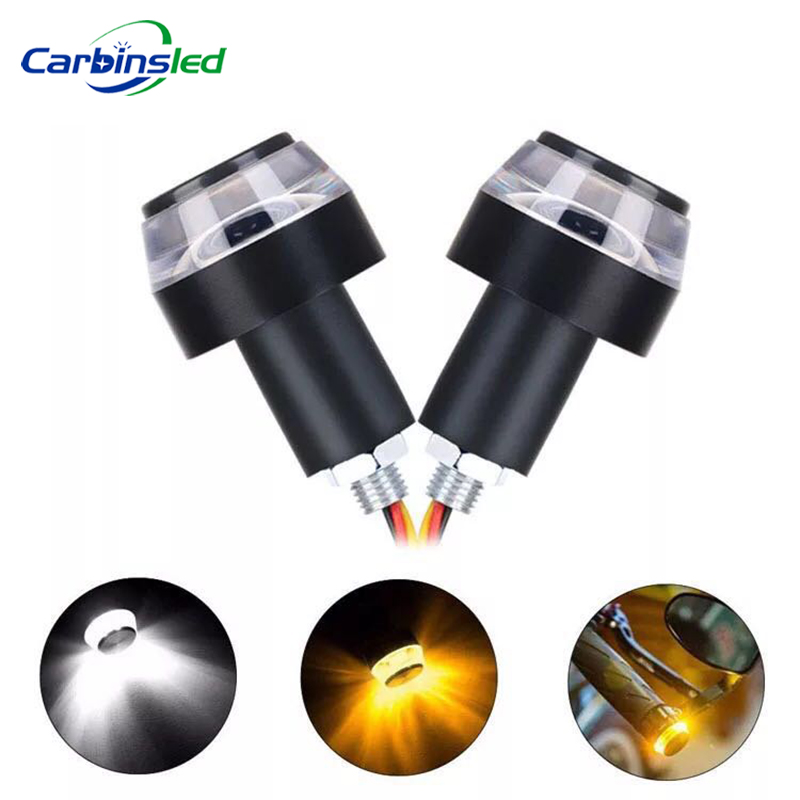 CARBINSLED 2PCS Motorcycle Yellow LED Handle Bar End Indicator Moto Handle Bar Grip Plug Turn Signal Light FOR 22mm Handlebar