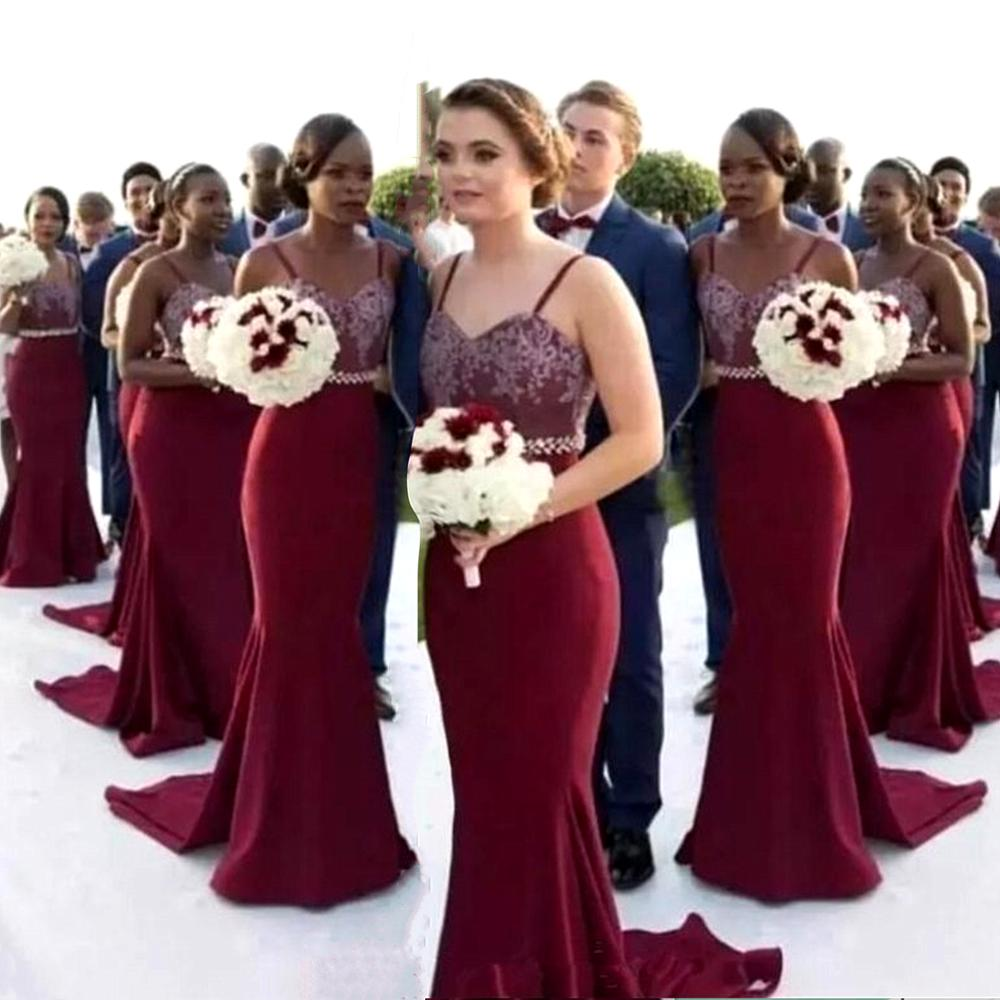 Spaghetti Straps Mermaid Bridesmaid Dresses 2020 Burgundy Satin Wedding Party Dress Vestidos De Festa Para Senhoras Casamento