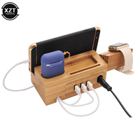 Estación de carga con múltiples puertos USB, soporte de madera de bambú para Apple Watch, iPhone, Airpods, tableta, soporte de carga 2A