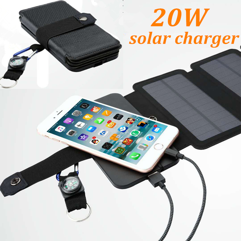 SunPower 20W Folding Solar Panels Cells Charger Battery Sun Power USB Output Fast Charging Devices Portable For Smartphones
