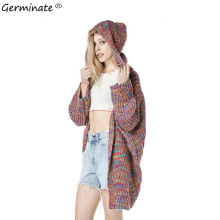 Germinate Rainbow Cardigan Hooded Sweater Women Winter Harajuku Kawaii Knitted Pull Sweaters Long Cardigans Coat Jumper Oversize