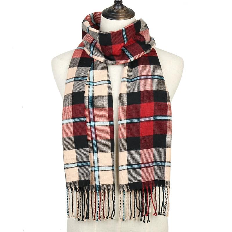 Men Women Plaid Scarf 2019 Winter Cashmere Scarf For Women Foulard Femme Long Wool Pashmina Ladies Shawls Men Business Scarf