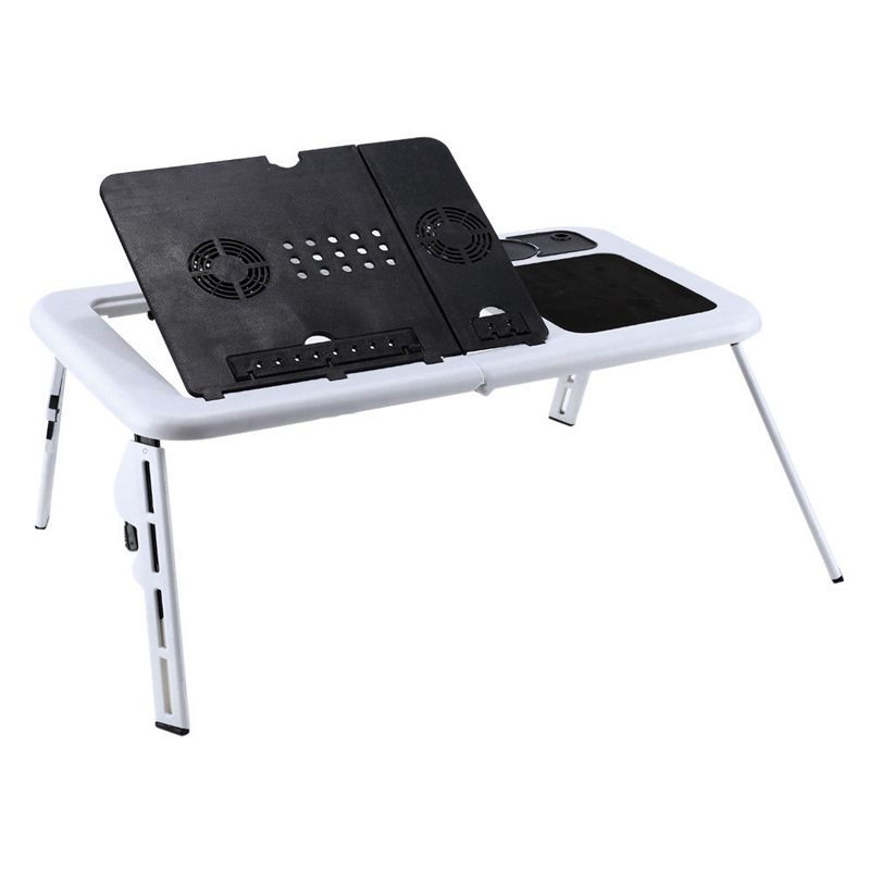 E-Table Bed USB Cooling Fans Stand TV Tray Laptop Desk Foldable Table
