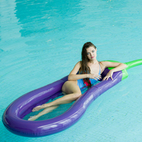 Inflatable Swimming Pool Float PVC Eggplant Mattress Swim Ring Circle Island Cool Water Party Pool Toys For Child Adult