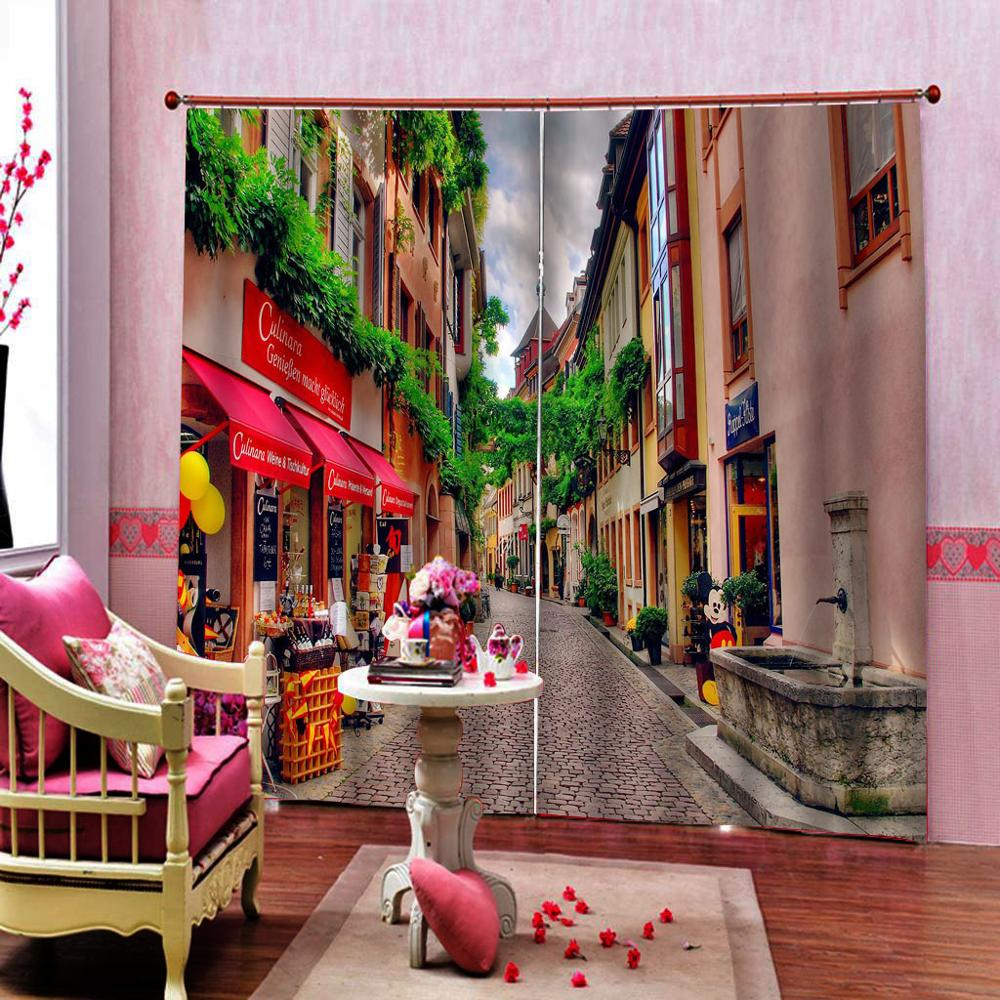 3D Blackout Curtains Living Room Bedroom Drapes European Street Scenery Curtains For Window Kitchen Comfortable Blinds
