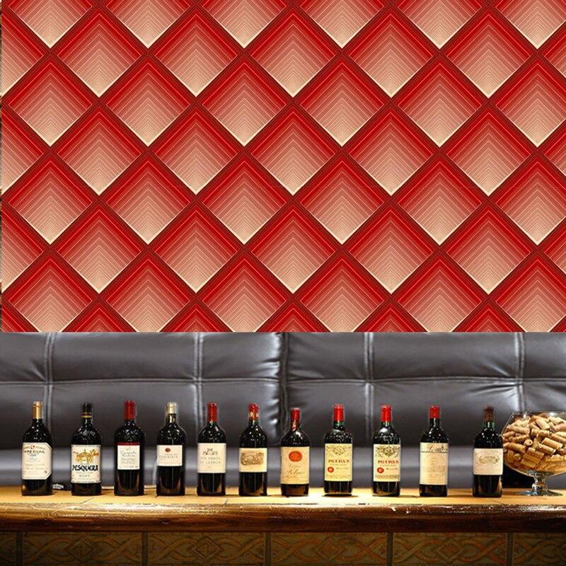 Papier peint moderne de vinyle de rouleau de papier peint rouge imperméable de Pvc pour des murs de pièce de Ktv, papier peint de boîte de nuit de feuille d'argent d'or - 3