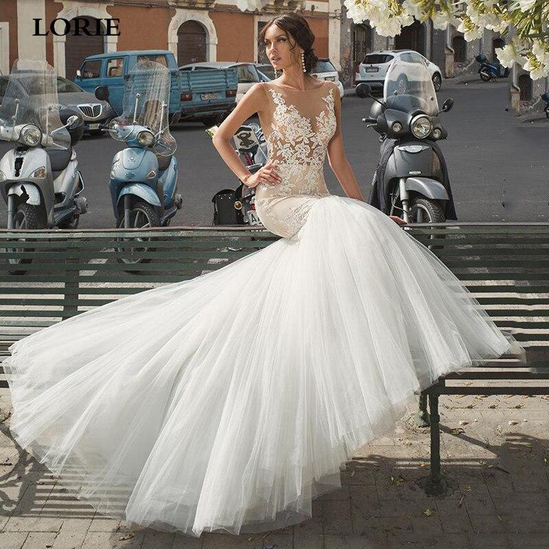LORIE Lace Mermaid Wedding Dresses Buttons Back Bride Dresses Vestidos De Novia Custom Made