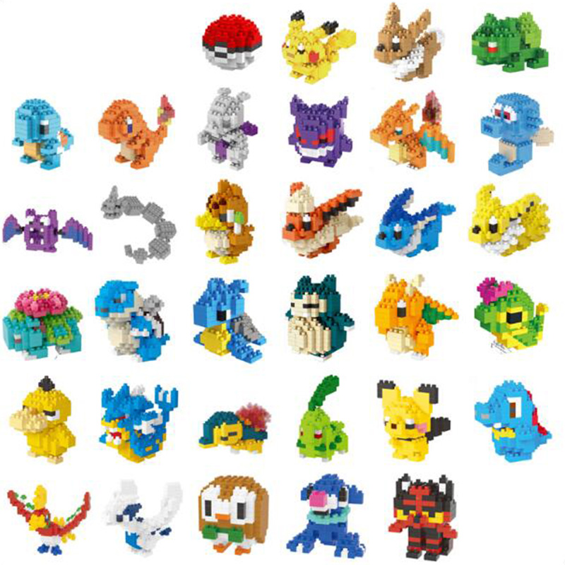 Anime Pocket Monsters Pikachus Blastoise Venusaur Charizard Gyarados Animal DIY Mini Building Diamond Small Blocks Toy No Box