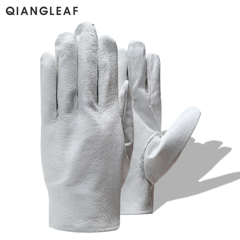 QIANGLEAF Brand Safety gloves D Grade White Grain mittens Leather glove Men Driver Wholesale White Gloves Free Shipping 130-in Safety Gloves from Security & Protection