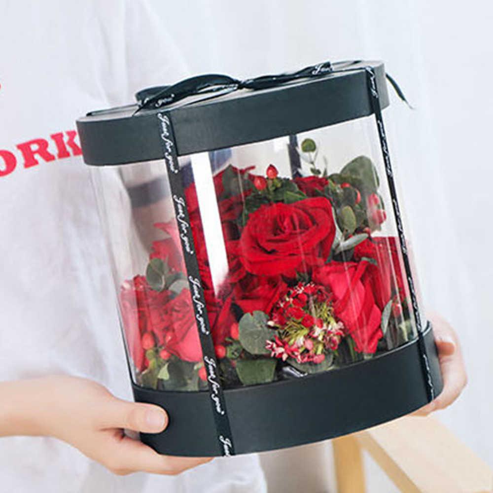 Coreano Rotonda di Cristallo Pvc Trasparente Fiore Scatole di Cerimonia Nuziale Confezione Regalo di Compleanno a Casa Ufficio Mestiere Antipolvere Mostra Scatola di Immagazzinaggio