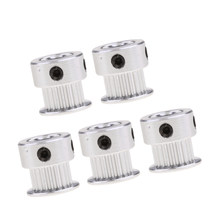 5pcs/set Timing Pulley 20 Tooth/Teeth, Printer Wheel Bore 5mm - Aluminium Gear for 3D Printers Parts(China)