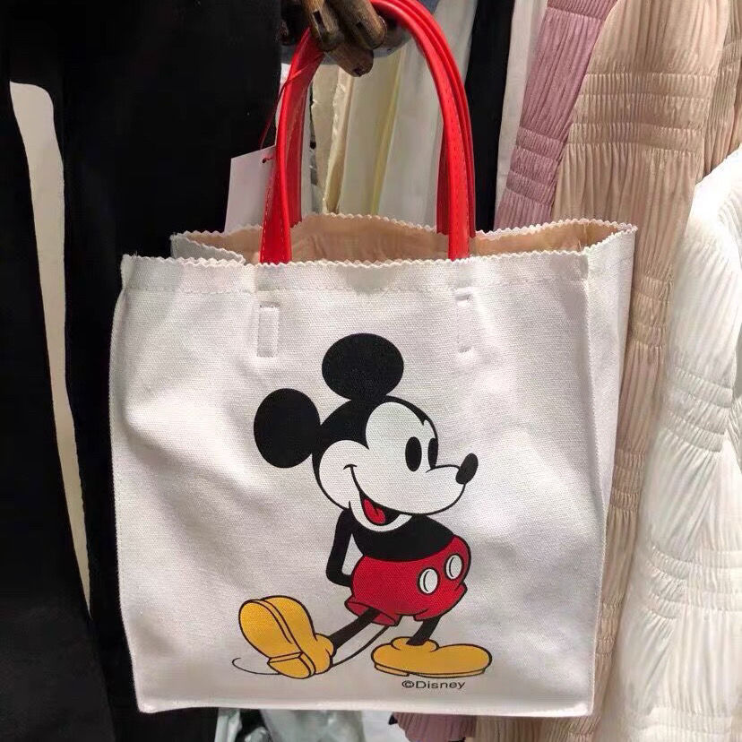 Disney Mcikey Mouse Girl Shoulder Bag Minnie Cartoon Handbag Women Canves Bag  Shopping Bag