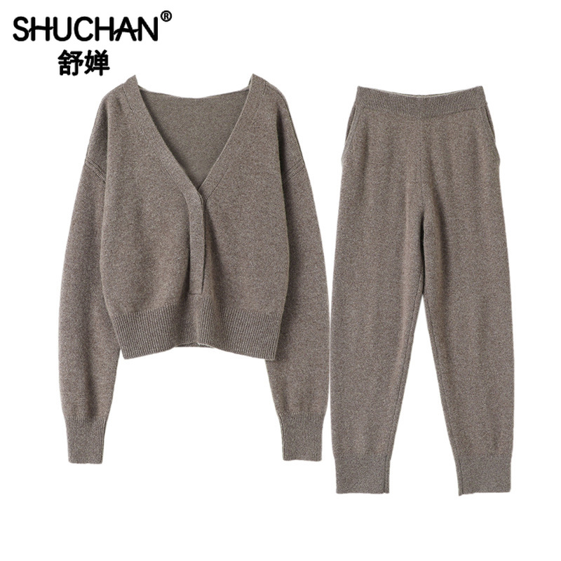 Shuchan Two Piece Pants Set Women 100% Cashmere Korean Style Women V-Neck Single Breasted Cardigan+pant Matching Sets For Women