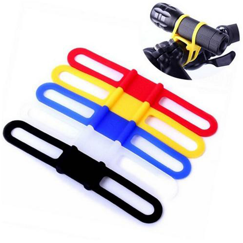 Elastic Bandage Silicon Strap MTB Mountain Road Bike Torch Flashlight Bands Bicycle Light Mount Holder Cycling Bicycle Accessory