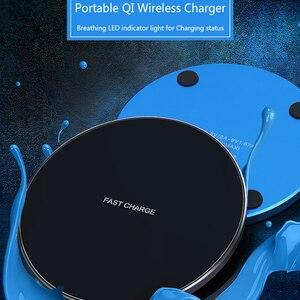 Image 2 - Qi chargeur sans fil 10W chargeur rapide pour iPhone X Xs XR 8 métal rapide sans fil chargeur pour Samsung S9 S10 Note 8 9 10 Plus