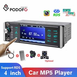 Podofo 1Din MP5 Player Touch Screen Car Radio Bidirectional Interconnection RDS AM FM 4-USB 4 Inch Support Android Mirrorlink