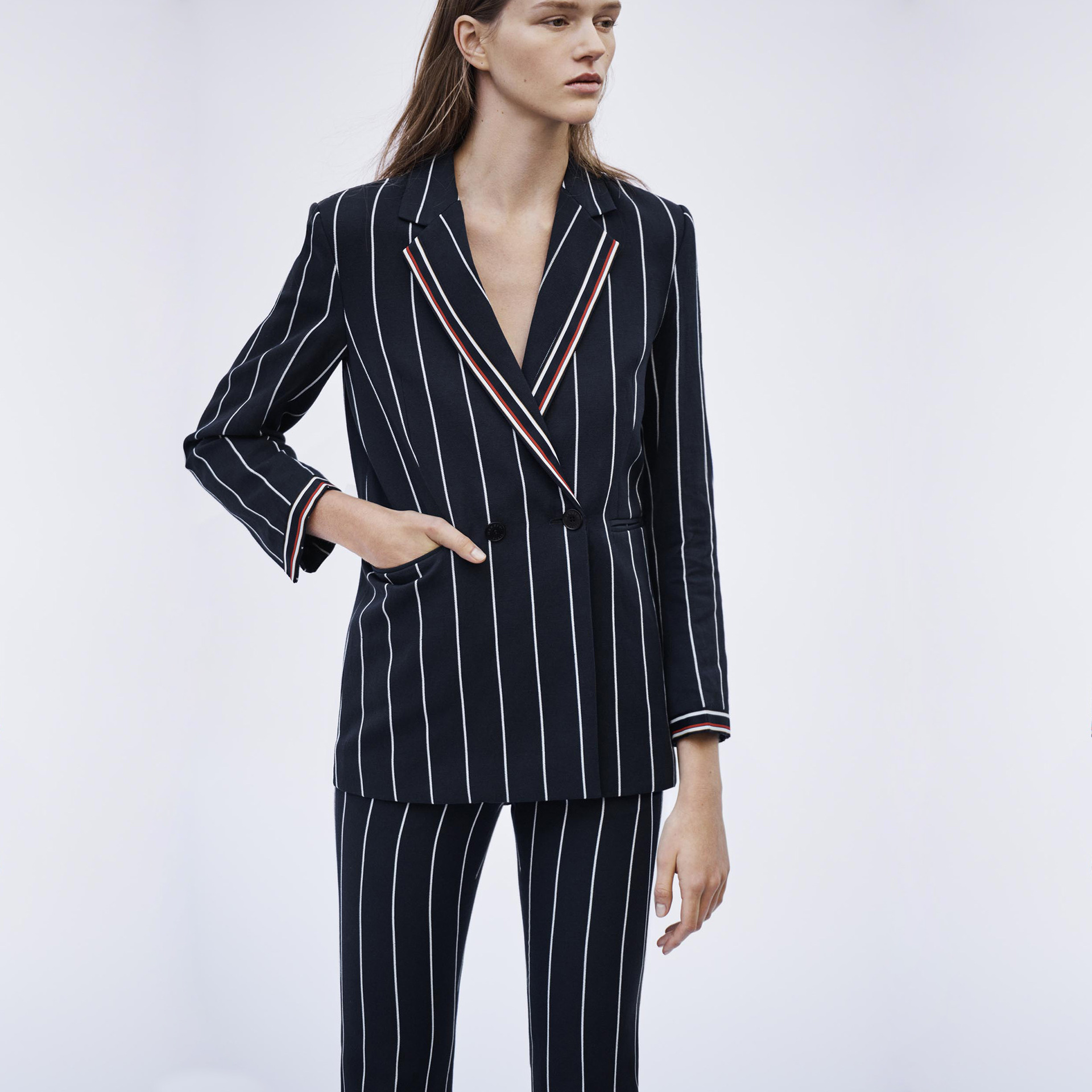 Women Suit 2019 Spring and Summer New Color Contrast Striped Commuter Lady Suit