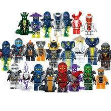 24 pçs conjunto mini boneca de brinquedo figura fantasma mal pythor choprai rai mezmo motocicleta jay cole kai zane lloyd bloco de construção brinquedo