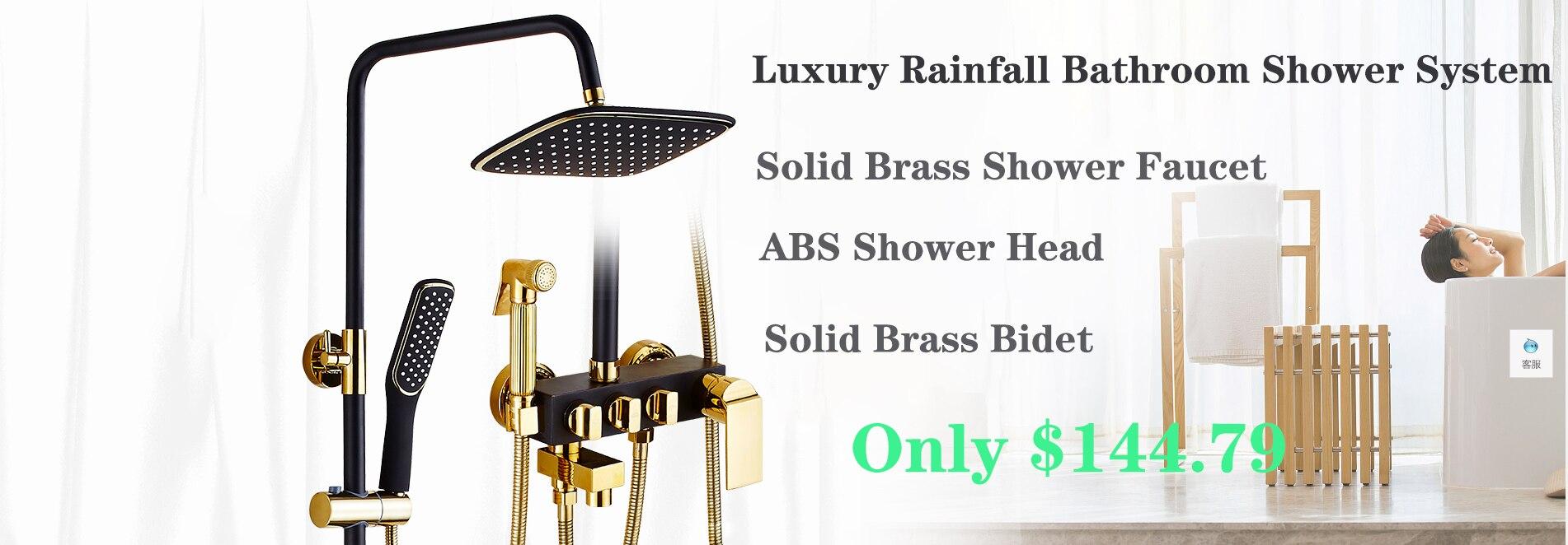 H34fd6de3b8a24dc5a497743a6c69ba31S Shower Set SDSN White Gold Bathroom Shower System Quality Copper Brass Bathtub Faucet Rainfall Shower Head Spa Bath Shower Sets