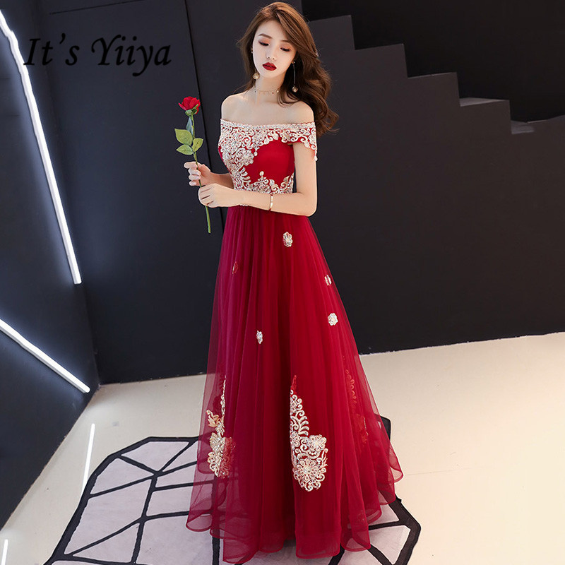 It's Yiiya Evening Dress Off The Shoulder For Women Long Robe De Soiree Embroidery Gold Lace Formal Party Gowns 2020  K174