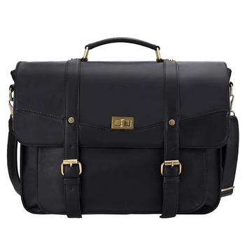 Button Seal Men Messenger Bag Double Buckles PU Leather Briefcase Fits 14inch Laptop With Removable Shoulder Strap Black fashionable men s briefcase with zippers and black colour design