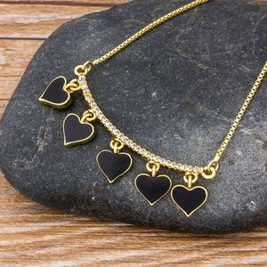 Classic Black/Red Color Copper Zircon Heart Shape Pendant Necklace for Women Best Party Wedding Jewelry Support Dropshipping