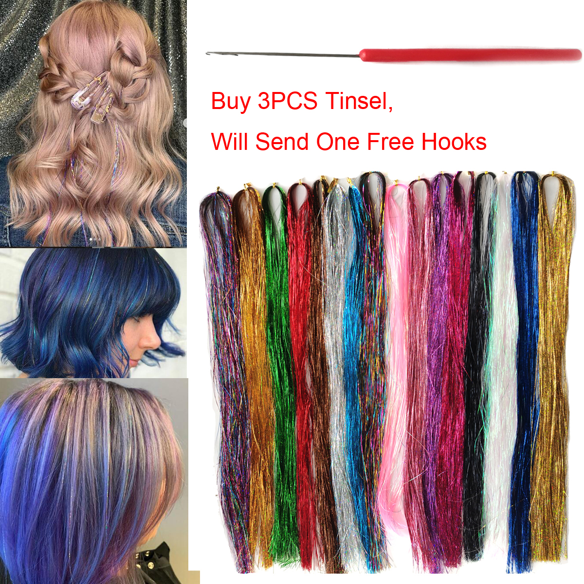 150Strands Holographic Glitter Sparkle Shiny Dazzles Hair Tinsel Bling Twinkle Hair Extension For Braiding Accessories